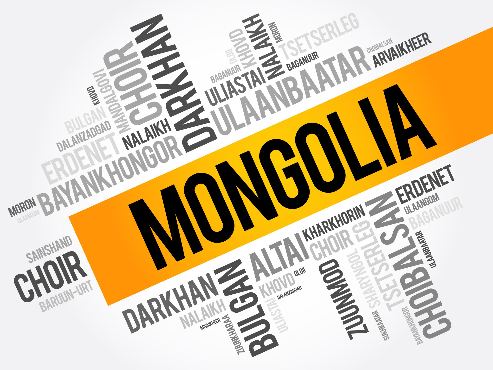 List of cities and towns in Mongolia word cloud collage business and travel concept background